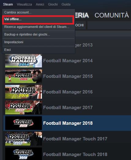 giocare nella modalità offline di Steam